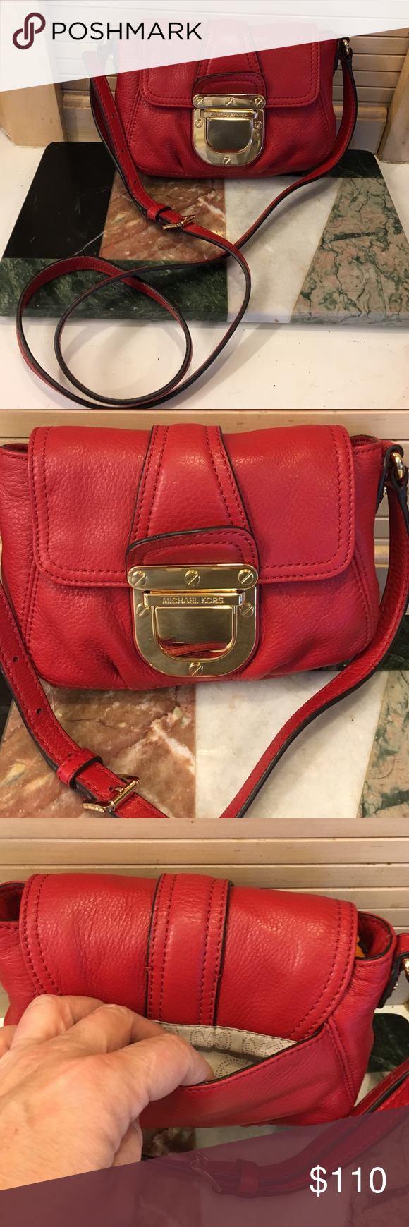 Michael Kors Red Leather Bag This is a small bag but it holds slot only used once it's like brand new great for Xmas! Michael Kors Bags Mini Bags