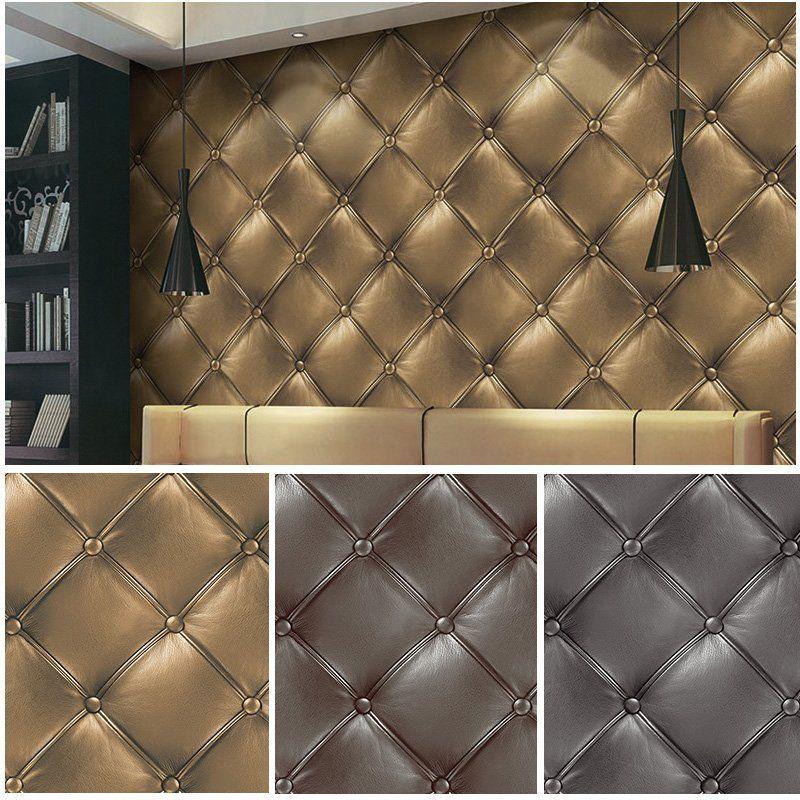 Vinyl 3d Luxuery Leather Textured Wallpaper Gold Grey Brown Mural 20 8 X393 7 Ebay Textured Wallpaper Leather Texture Cheap Hardwood Floors