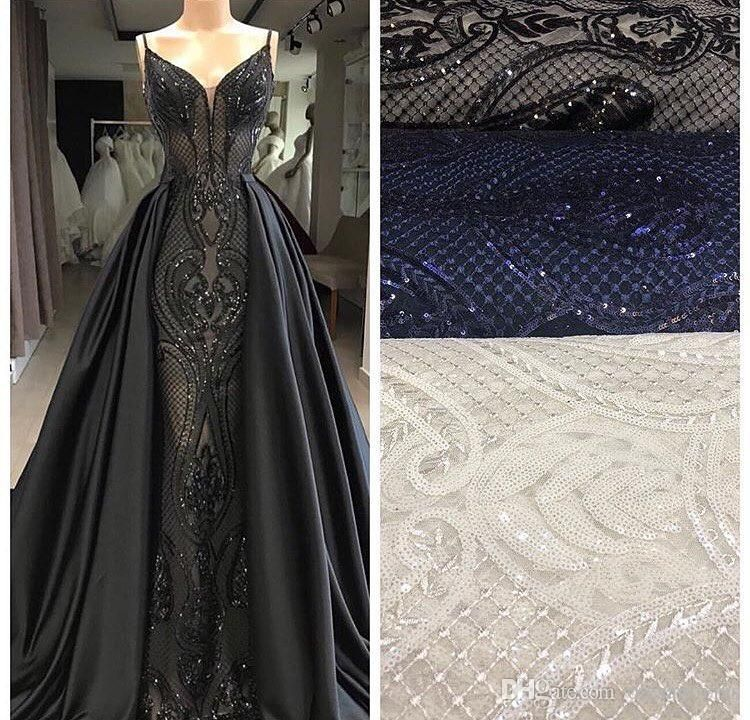 f073db42693a3 Black Beaded Spaghetti Straps Mermaid Evening Dress 2018 Dubai ...