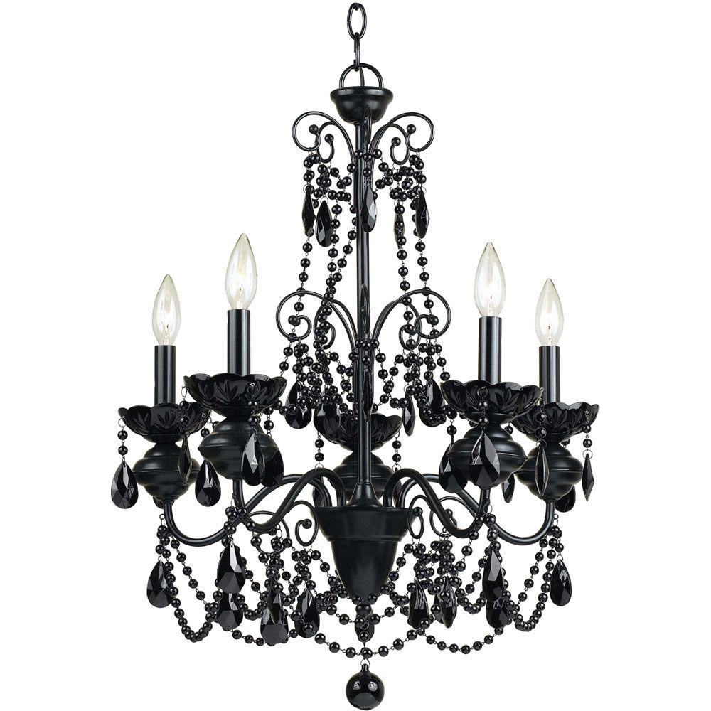 Af Lighting Mischief 5 Light Black Metal Chandelier With Black