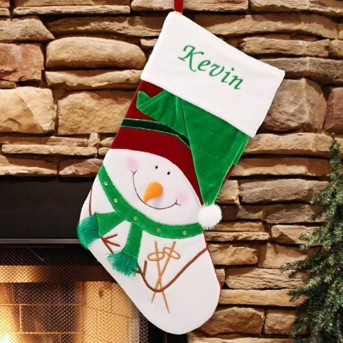 Embroidered Green Velvet Snowman Christmas Stocking EXPIRED-$30