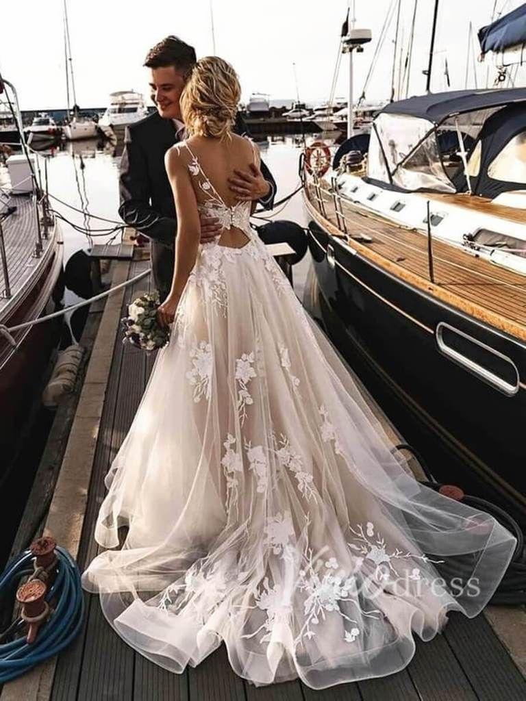 Champagne Lace Beach Wedding Dresses Open Back 2019 VW1130