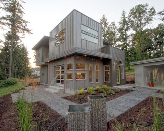 Siding Exterior Mix Of Standing Seam Metal Siding Flat Panel Hardie Planks Modern House Exterior House Exterior House Design