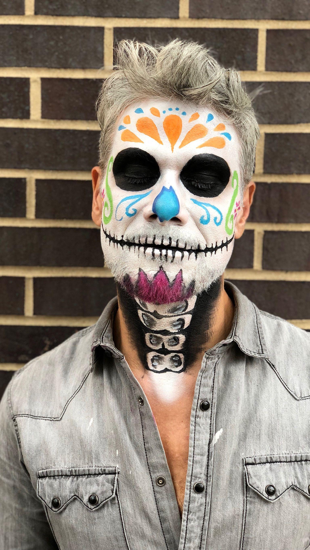 sugar skull makeup look for men día de los muertos