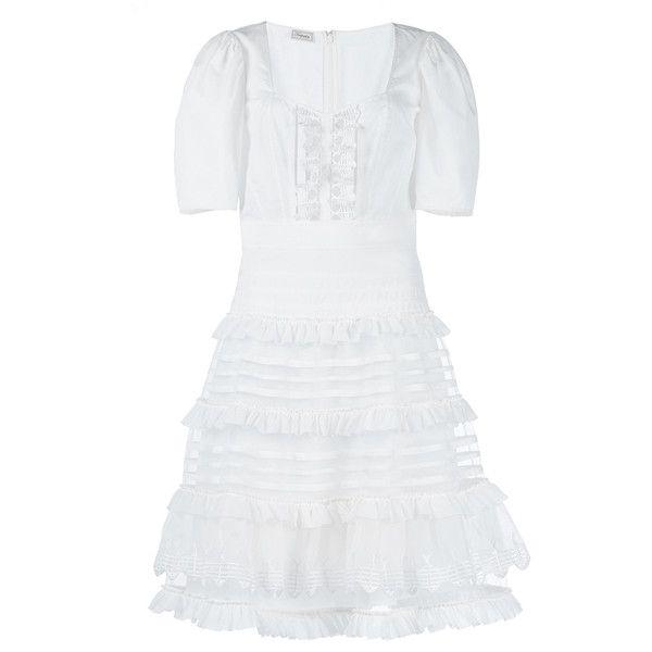 Temperley London Sea Ruffle Dress ($1,495) ❤ liked on Polyvore featuring dresses, sheath cocktail dress, white short sleeve dress, white skater skirt, sheath dress and circle skirt