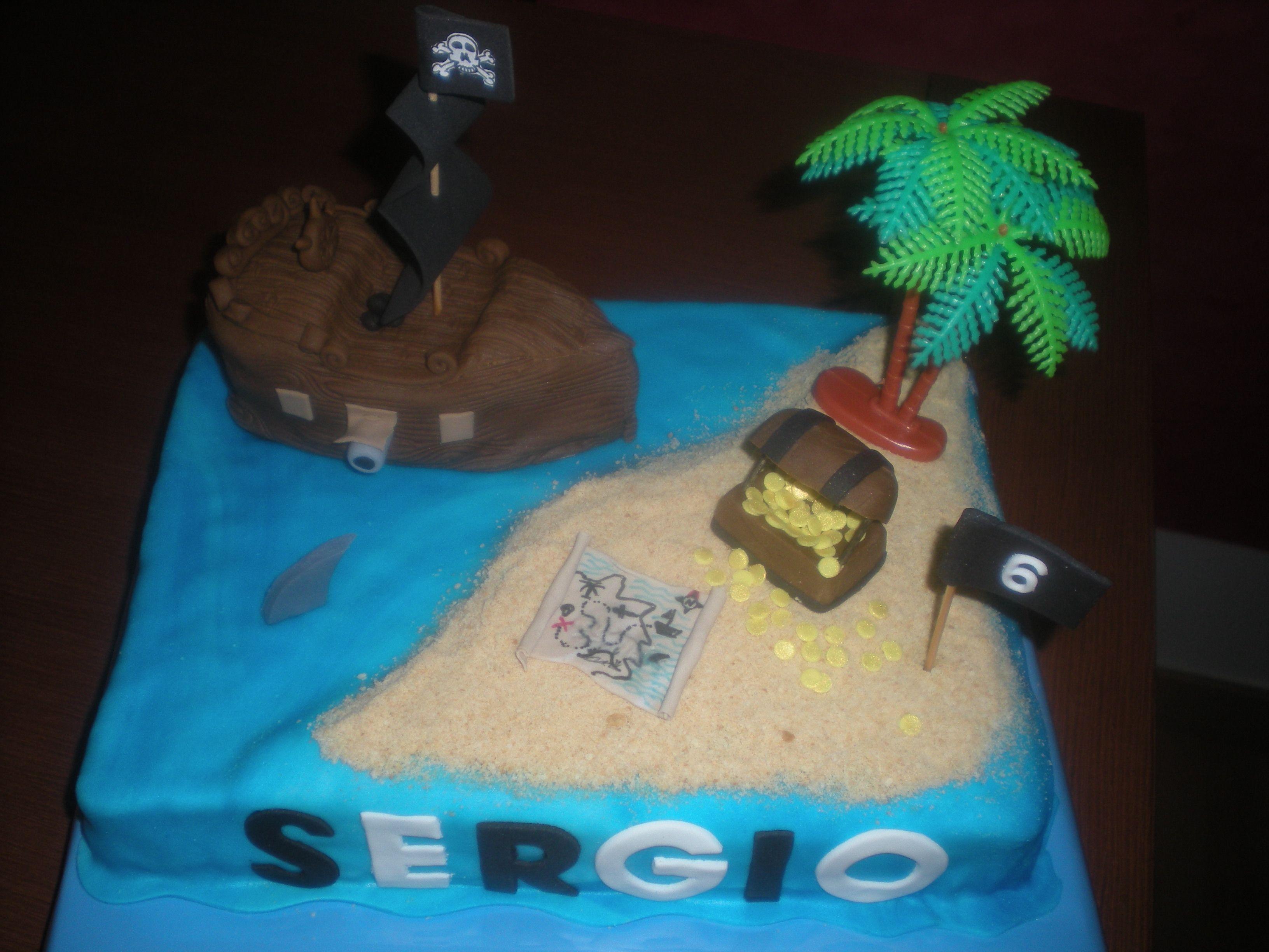 Isla del Tesoro, con un Barco Pirata en 3D, hecho también en bizcocho!!
