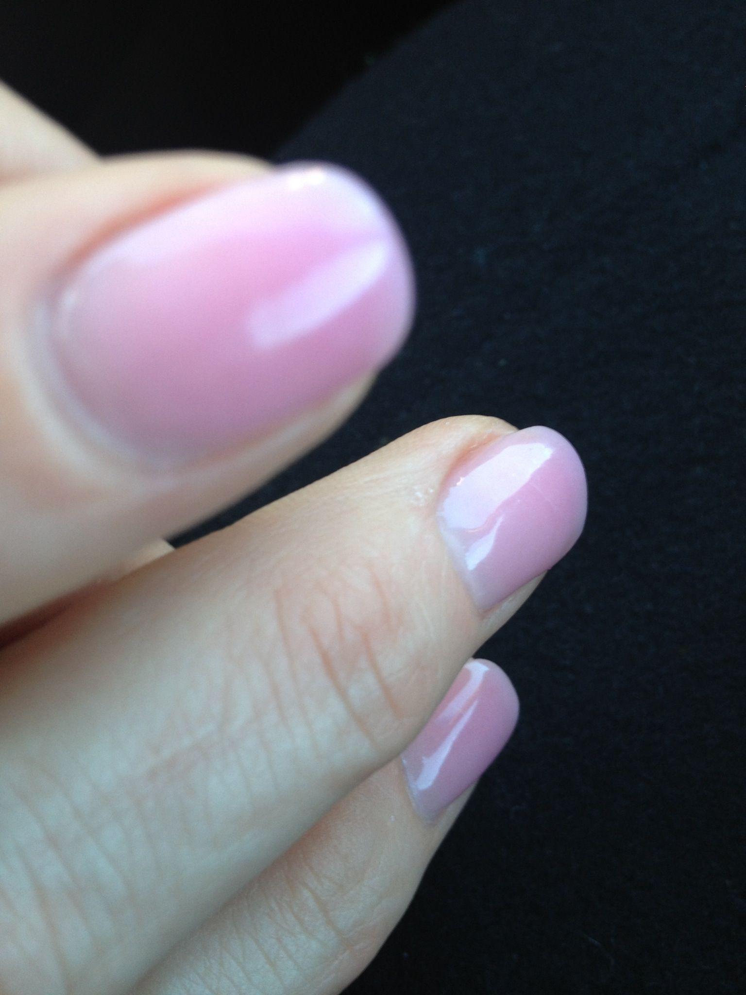 Dark Pink Powder Acrylics With Clear Gel Top Coat Pink Nails Nail Colors Gel Nails