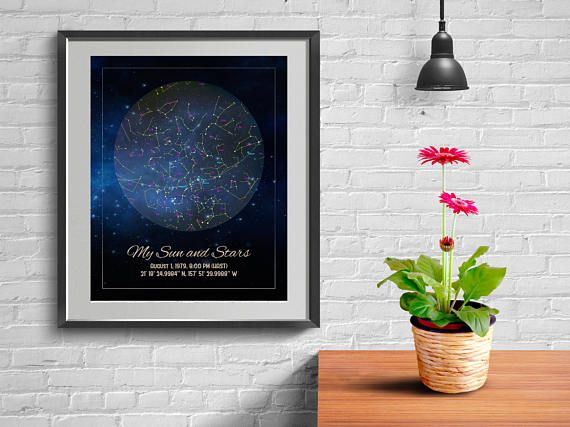 Custom Star Chart Cluster Night You Were Born Actual Sky Birthday Map Gift For Best Friend Boyfriend 75