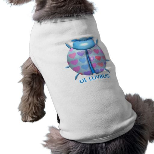 "Blue  3D ""Lil LuvBug"" w/Hearts Doggie Tank-Top Pet Tee Shirt"