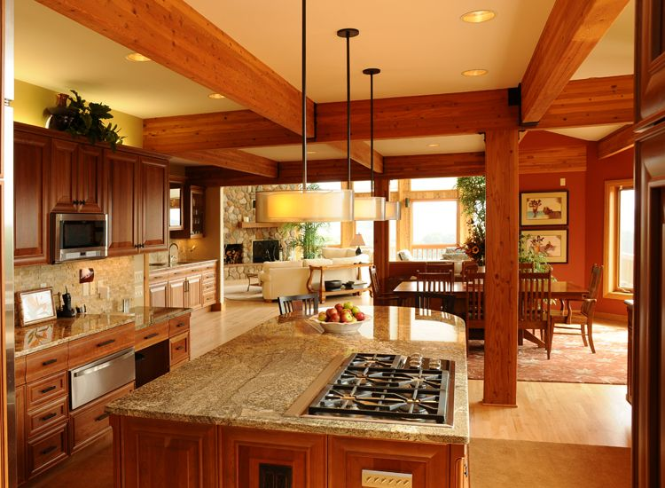 This is a good example of what i think of for modern post for Post and beam kitchen ideas