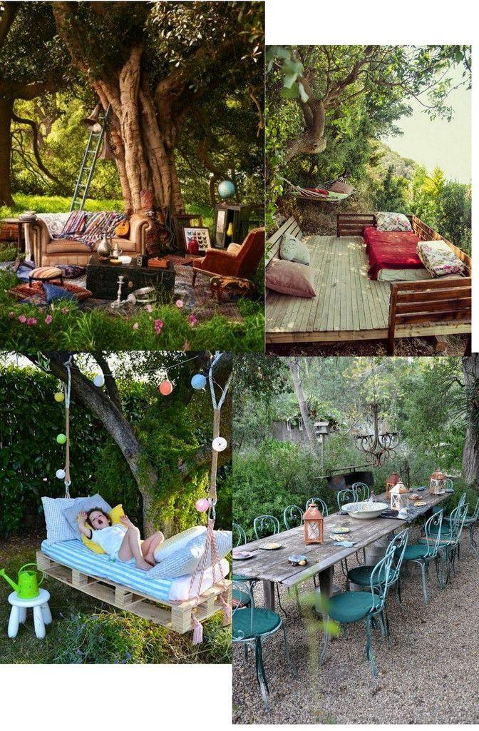 inspiration pour un salon de jardin  un peu  boh u00e8me