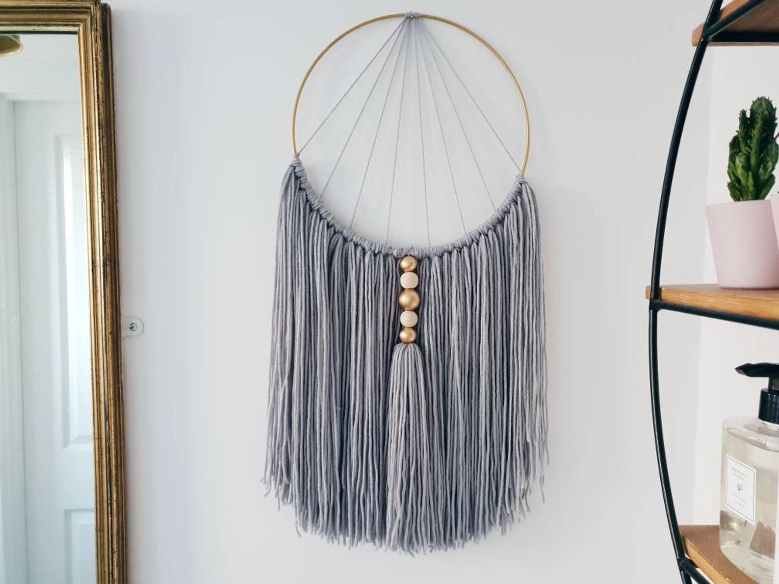 Grey Macrame Wall Hanging Home Accessory With Natural Wooden