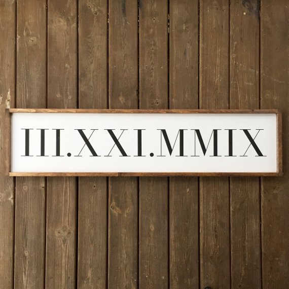 Wedding Hairstyle At Home: Roman Numeral Date Framed Wood Sign, Wedding Date Custom