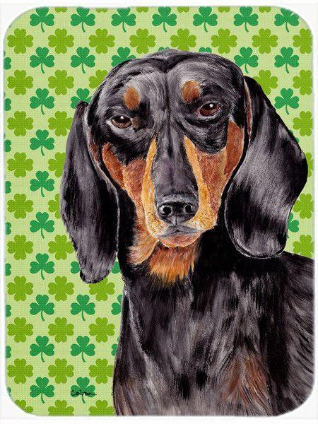 Shamrock Lucky Irish Dachshund St. Patrick's Day Portrait Glass Cutting Board