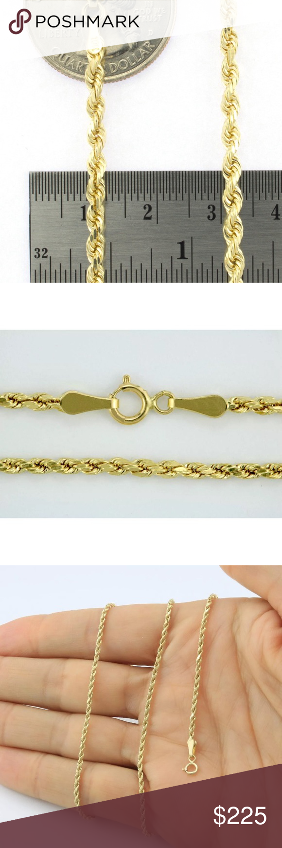 New Solid Gold Rope Chain 20 10k Gold Necklace Gold Rope Chains Gold Necklace 10k Gold