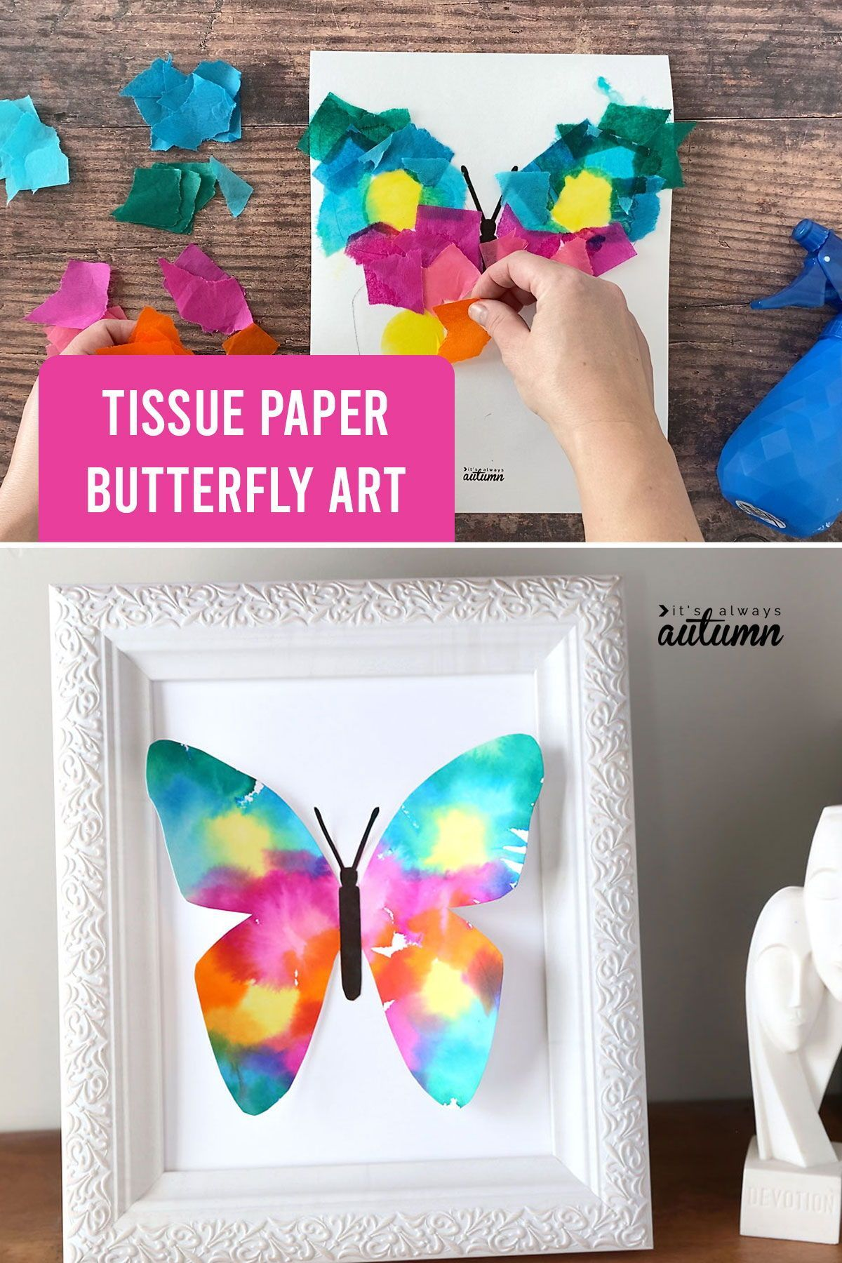 This beautiful butterfly art is made with bleeding tissue paper. It's a fun kid art project that turns out pretty enough to frame!