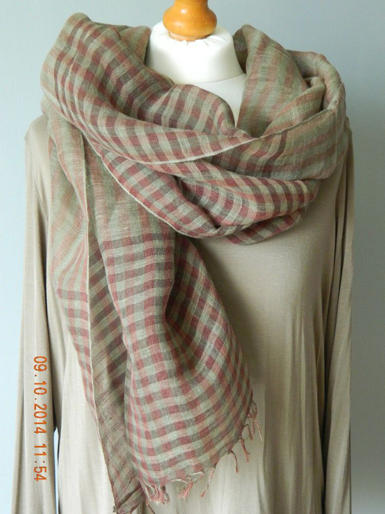 NEW BOHEMIAN BROWN / TAUPE / OLIVE CHECK LINEN SCARF MADE IN ITALY LAGENLOOK UK