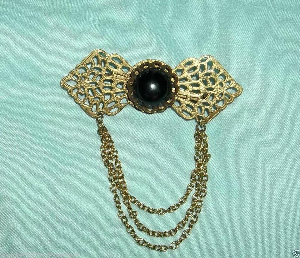 Art Nouveau Jet Glass Brass Filigree Mourning Pin Brass Chatelaine Mourning Pin