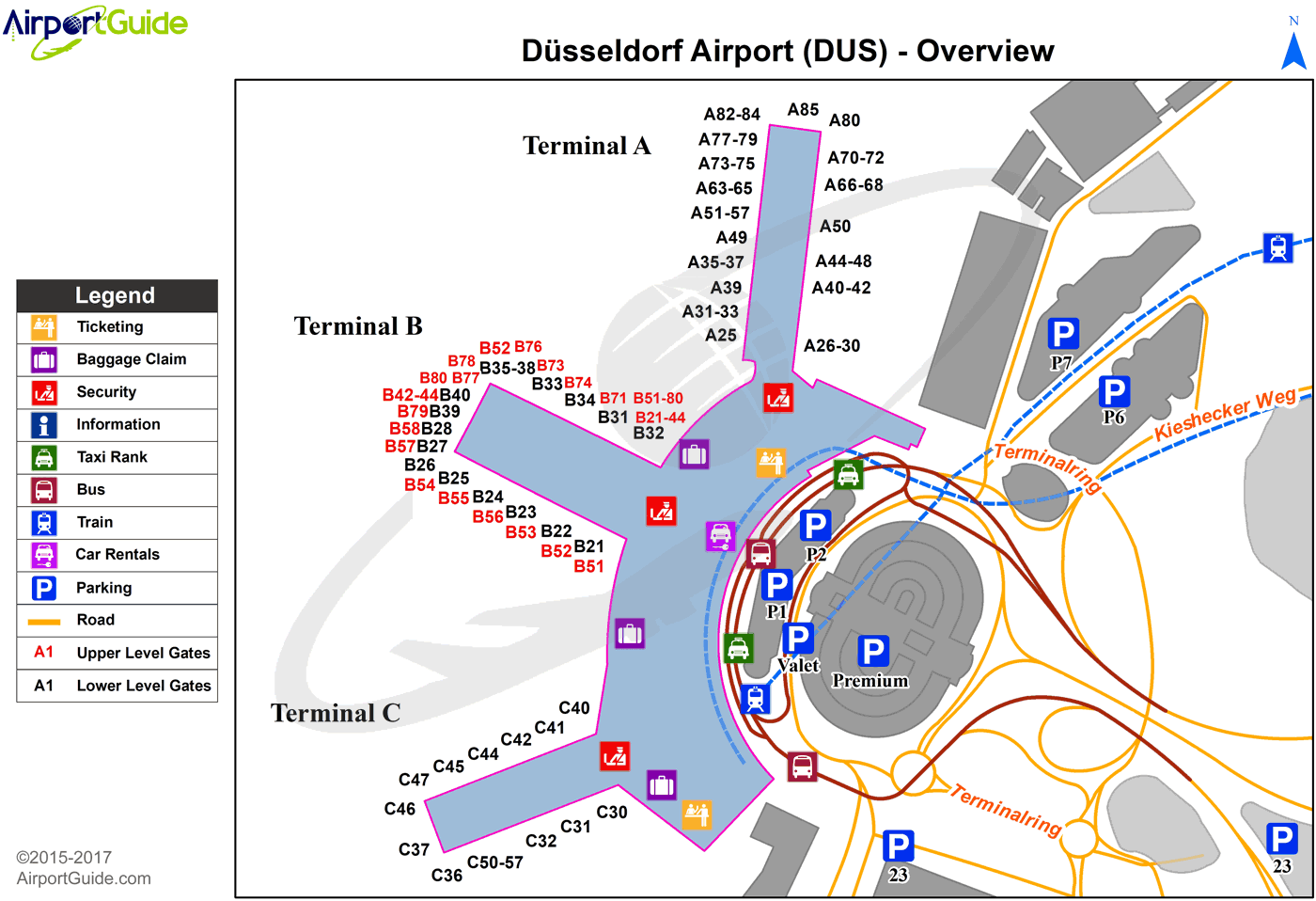 düsseldorf  düsseldorf international (dus) airport terminal map  overview. düsseldorf  düsseldorf international (dus) airport terminal map