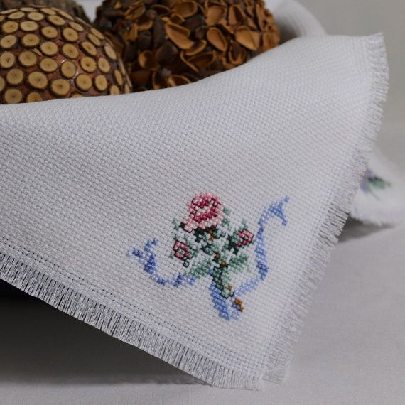 Tea Time Roses Cross Stitch Bread Cloth Basket by CopperNugget