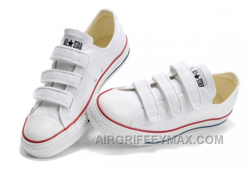 146cfd209ede Discount Classic CONVERSE 3 Strap All Star Velcro White Canvas Shoes ...