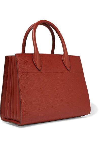 b89e6c34e41a Prada - Bibliothèque Textured-leather Tote - Brick | Products ...