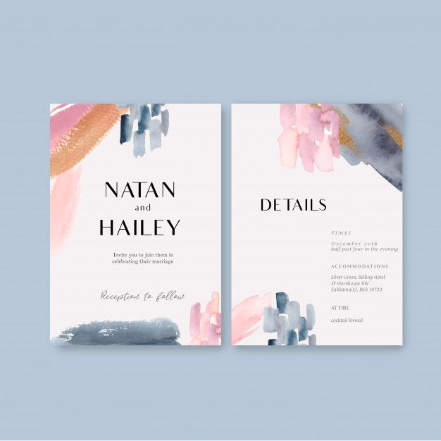 Download Watercolor Wedding Card Template With Brushstrokes for free -   15 wedding Card watercolor ideas