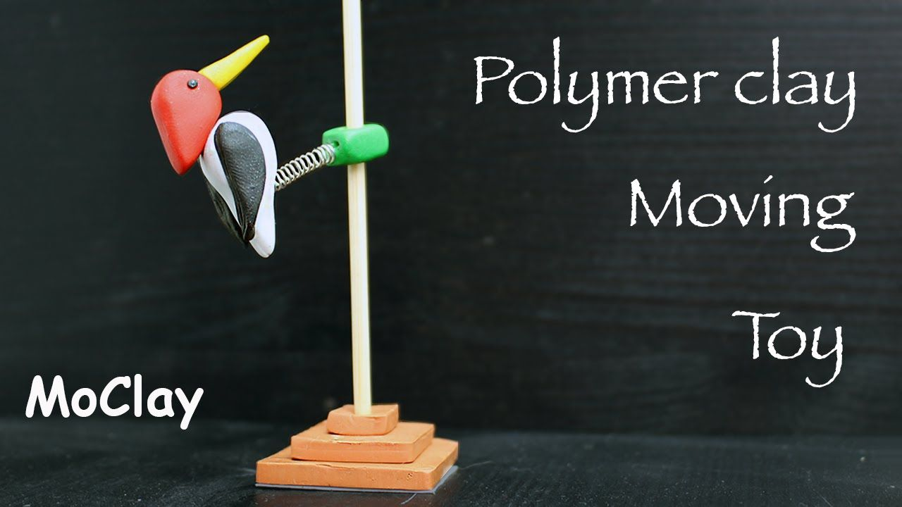 How to make a woodpecker on a pole polymer clay moving