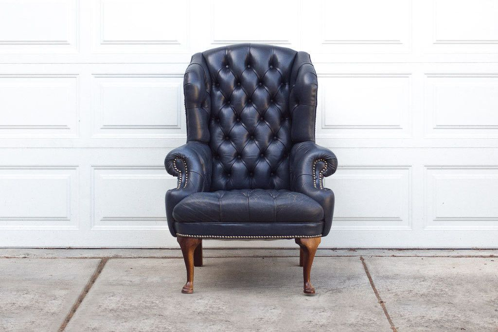 Vintage Navy Tufted Wingback Leather Wing Chair Furniture Leather Chair