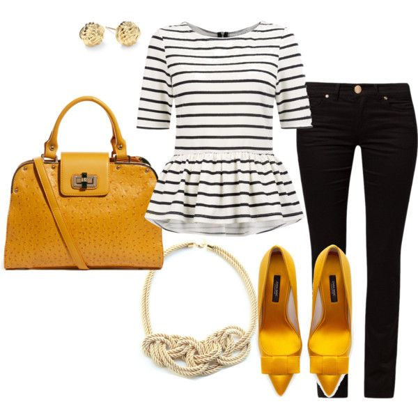 Mustard with black and white by allthatglitters810, via Polyvore