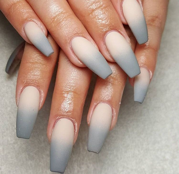 Ombre Gray Nails Nails With Images Ombre Acrylic Nails Matte Nails Design Ombre Nails