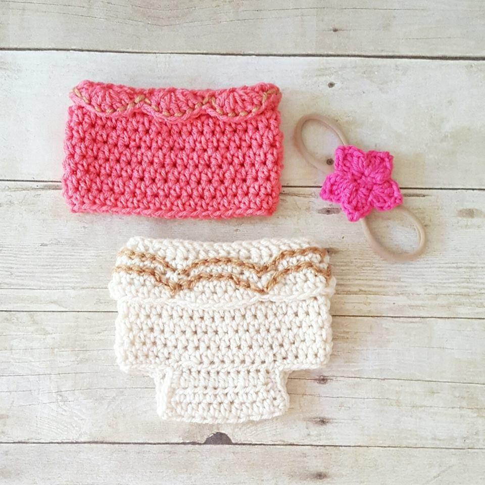 Crochet Baby Moana Set Shirt Diaper Headband Flower Floral Headpiece ...