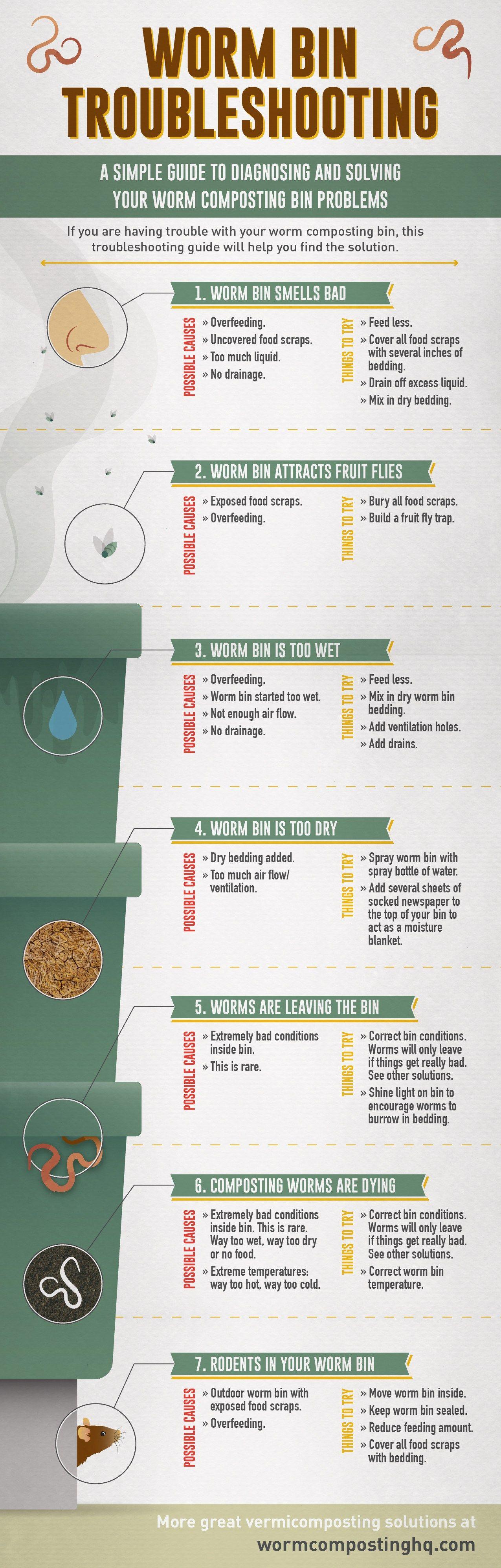 Worm Bin Troubleshooting Infographic