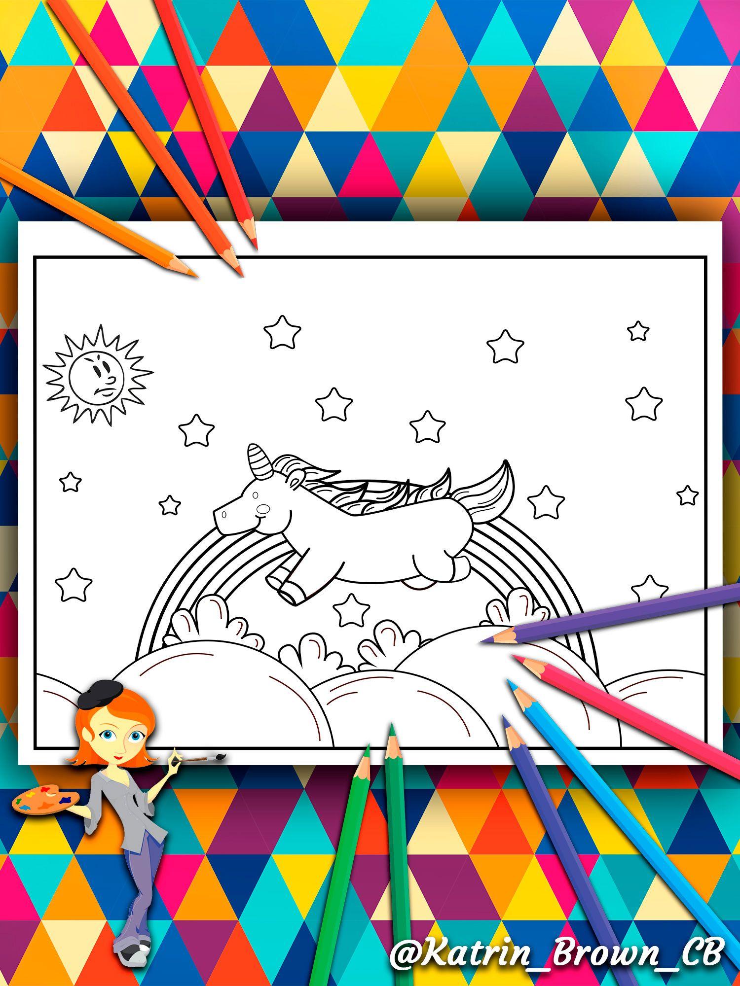 Unicornio Despreocupado Corriendo Por Las Nubes Libro Para Colorear