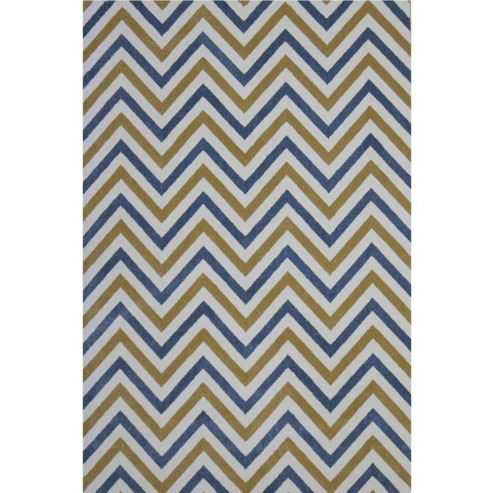 Talitha Blue Yellow Chevron Pattern Loomed Area Rug