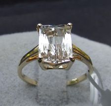 2.68 cts Genuine Canary Kunzite Solitaire Size 7 Ring in 10k Yellow Gold