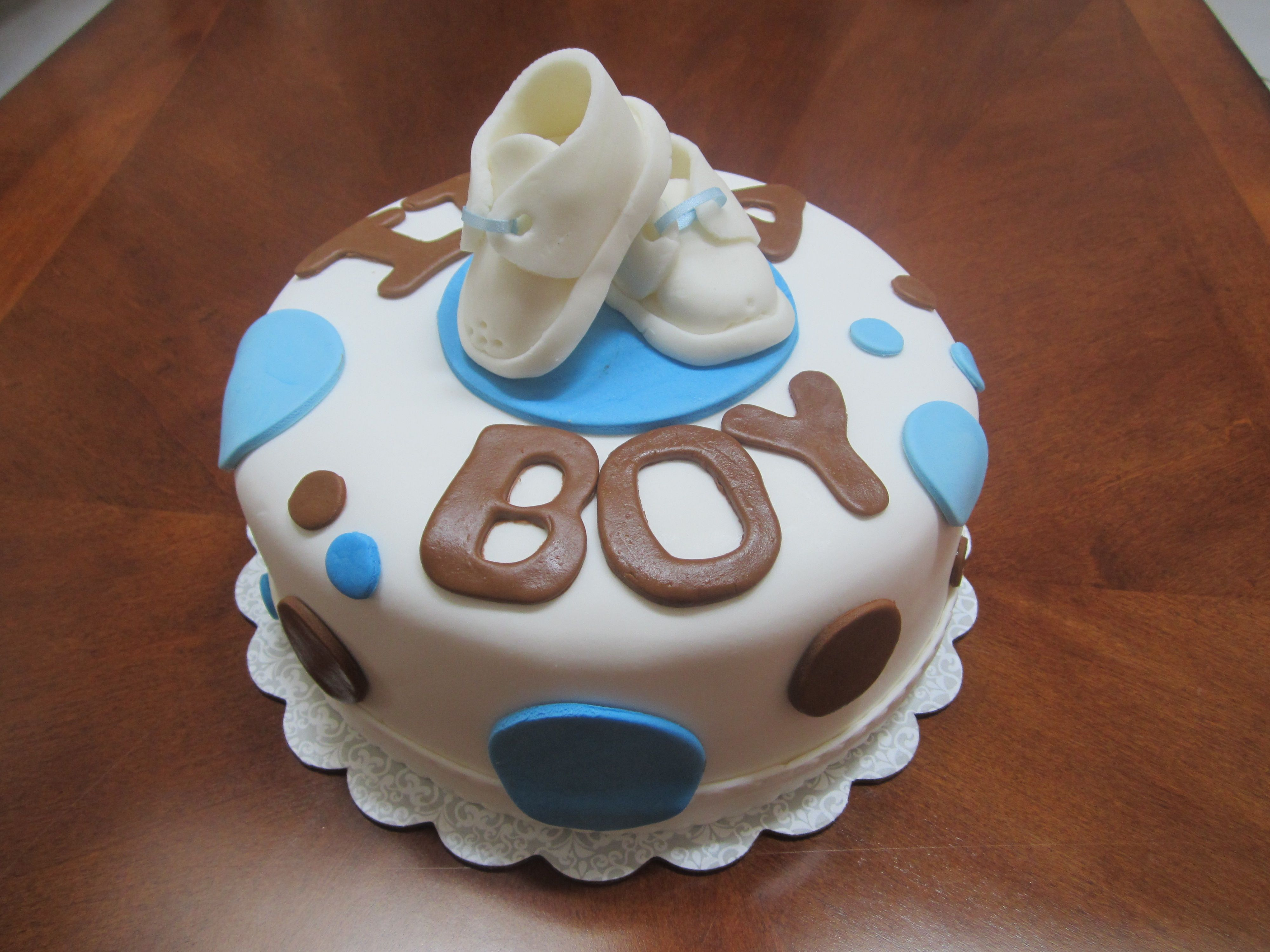 Baby Boy Shower Cake With Fondant Booties