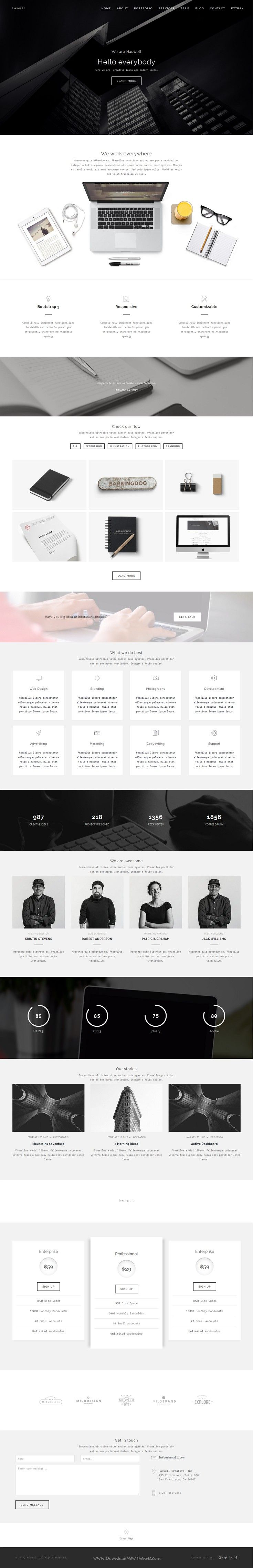 Haswell is bold and #minimal Creative Bootstrap HTML parallax ...