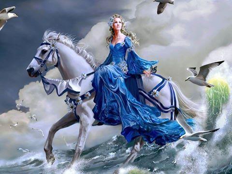 Beyaz Atli Prenses Atlar Tablolar Tuval Sanati