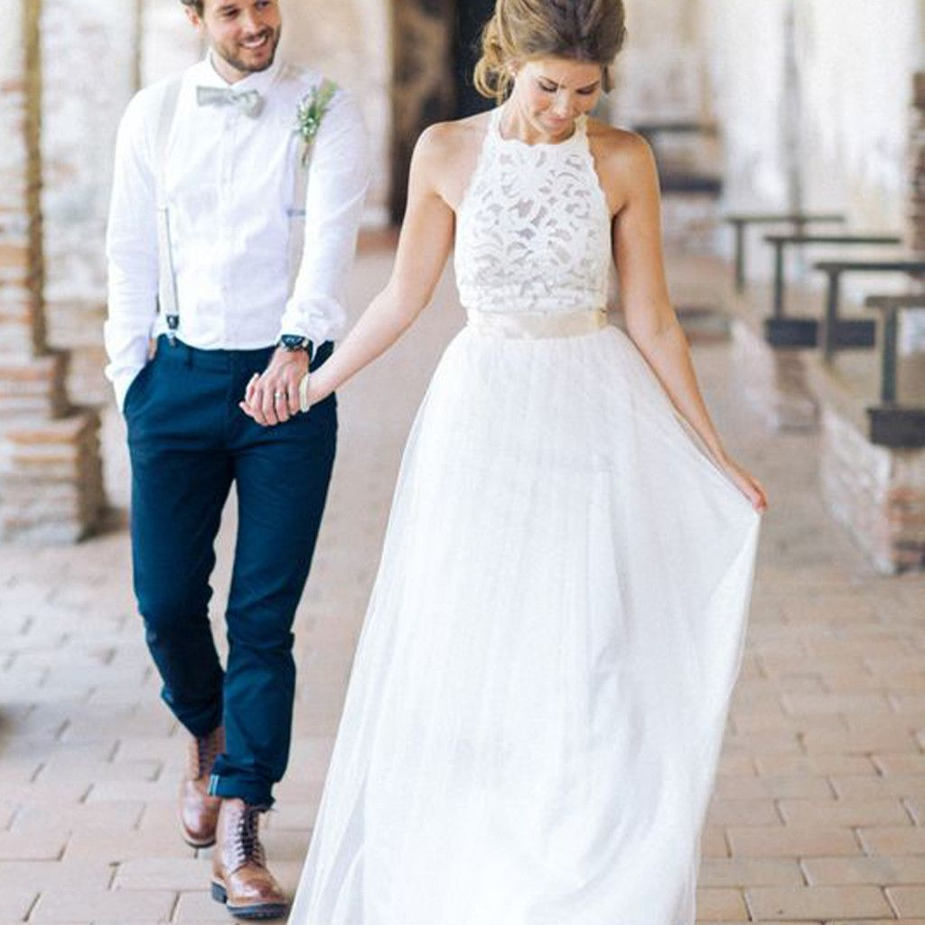 High neck lace long sheath simple design ivory wedding party dresses