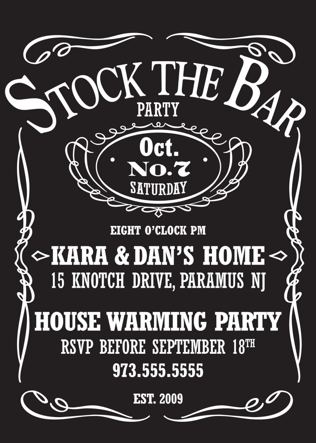 Stock The Bar Party Invite | Jack daniels label, Jack daniels and ...