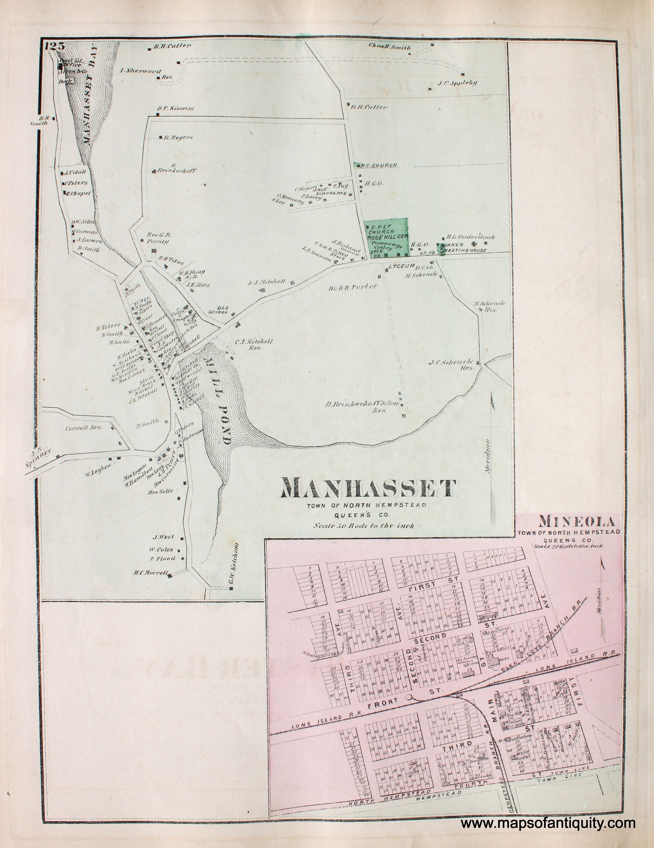 1873 D.G. Beers & Co. map of Mineola in the bottom right corner ...