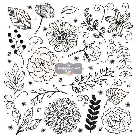 Rustic Wedding Clipart Flower Hand Drawn Leaf Floral Naturewedding Bridal Shower Invitation