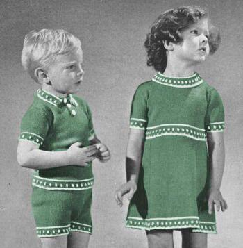 Boys Girls Sweater Shorts Skirt With Border Vintage Knitting