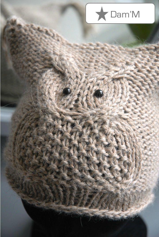 f4ef9bb3d759 Tricoter un bonnet hibou pour bébé facile   knit a beanie baby owl ...