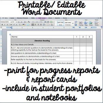 Common Core Checklist - Third Grade ELA Common core checklist and - printing excel spreadsheets