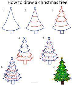 How To Draw A Christmas Tree Christmas Tree Drawing Christmas Drawing Christmas Doodles