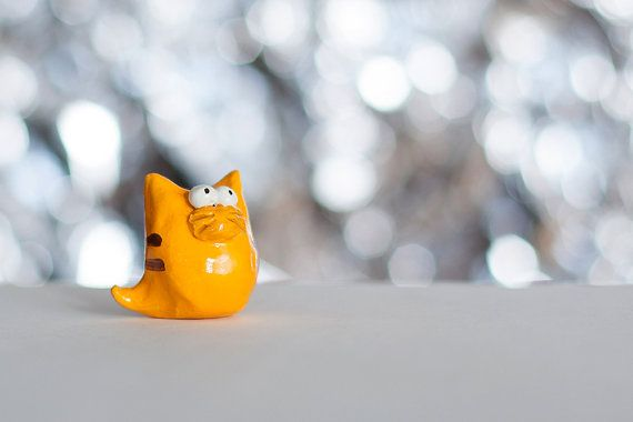 Yellow Cat, polymer clay figurine, handmade miniature cat figurine #cat #cats #meow