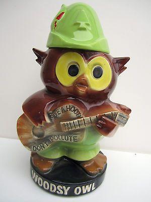 Woodsy Owl Vintage Ceramic Pottery Cookie Jar Guitar Hoot