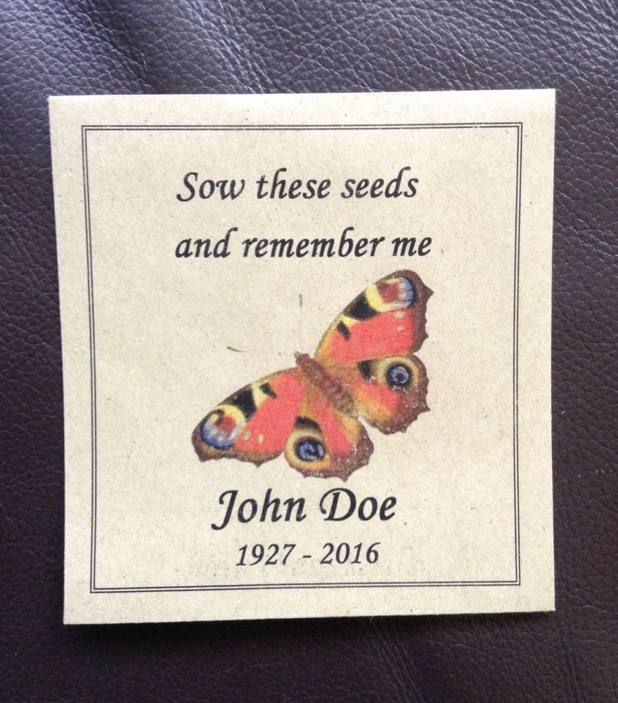 10 Forget Me Not Seed Packet Favours By Wedding In A: Memory/Remembrance (Funeral) Personalised Wild Flower Seed